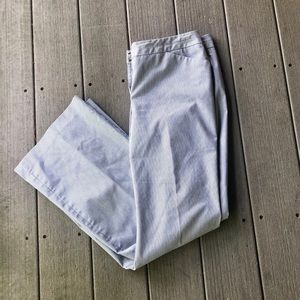 White/blue pinstripes dress pants